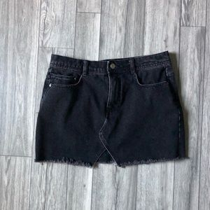 ZARA Black Acidwash Denim Skirt Medium